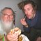 R. Stevie Moore and Joey Pizzaslice sharing a sammich.