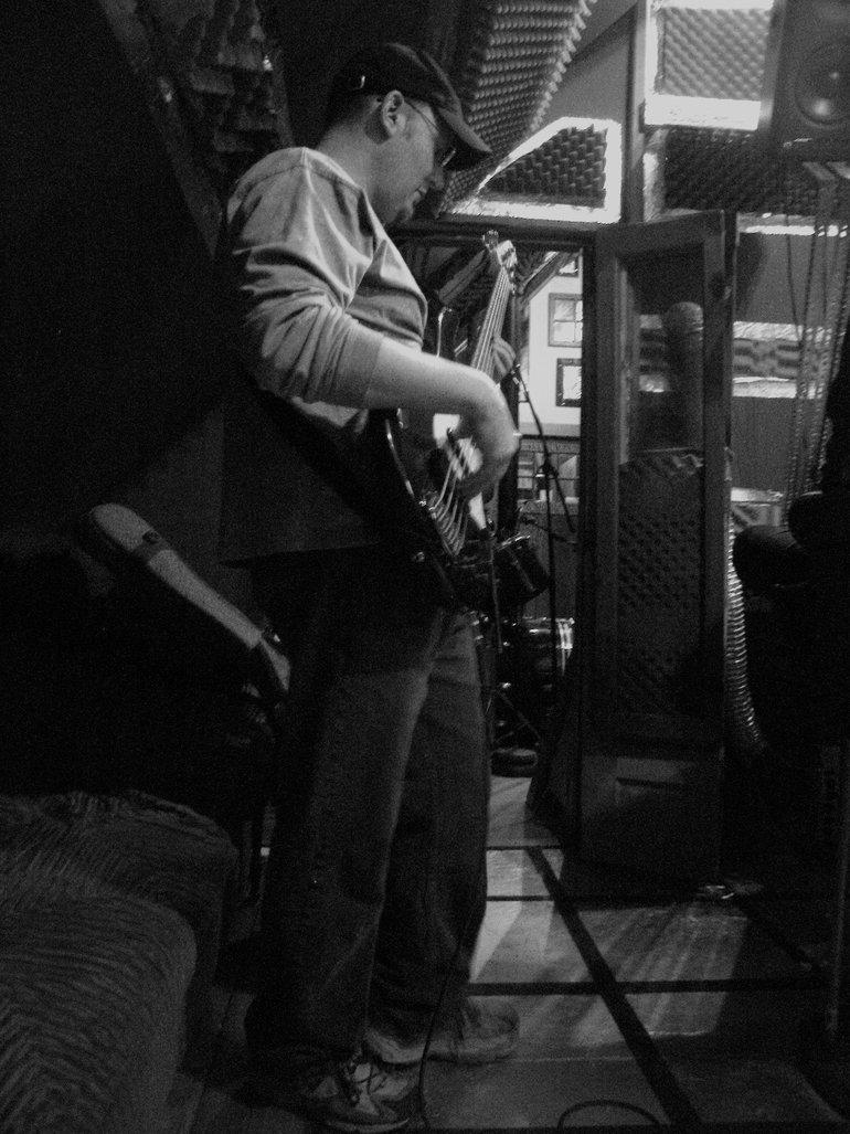 """Erik Swanson (bass. Taken during the making of \""""WOTW\"""") 2008"""