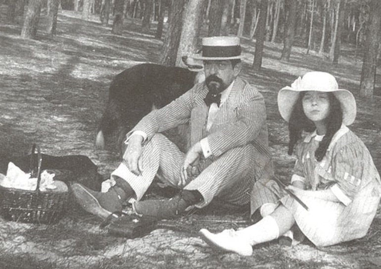 """Debussy and his daughter """"Emma"""""""
