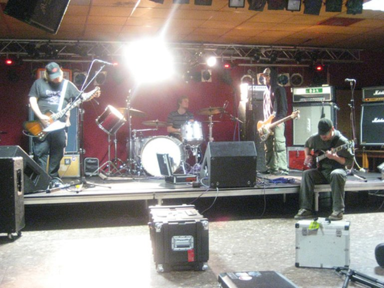 Sound check at the SC Barracke in Magdeburg, Germany