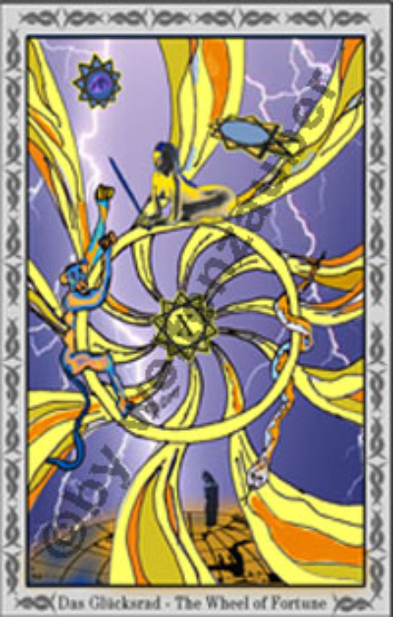 Das Glücksrad - The Wheel of Fortune,  One card of the Tarot-Deck. made by Weltenzauber.