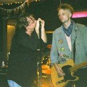 """John \""""Newy\"""" Harvey and former guitarist Tazz Tony"""