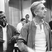 Gil Evans in the studio with Miles Davis, circa 1970. Michael Ochs Archives