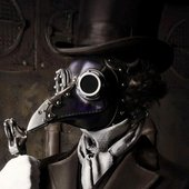 In steampunk stage cosplay
