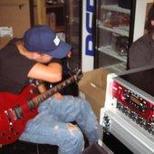 Hostile recording their demo the summer of 2005 in the basement of Rivals Pub, Tønsberg