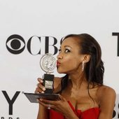 """Nikki M. James (Nabulungi) & her Tony Award for 'Best Performance by a Featured Actress in a Musical' - \""""The Book of Mormon\"""" on Broadway"""
