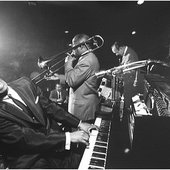 Earl Hines with James H. 'Jimmy' Archey, Francis Joseph 'Muggsy' Spanier and Earl Watkins in 1958. (photo by Dennis Stock)