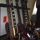 James' bass and Trevor's guitars