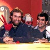Álvaro Díaz y Pedro Peirano junto a sus personajes