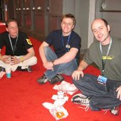 Joris de Man (Guerrilla Games), Dave Ranyard (Sony Europe) and Ninja Tune record label rep Allister