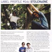 Magazine article about one of Thee Moths' labels
