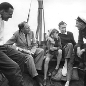 Pears, E. M. Forster, Robin Long, Britten and Billy Burrell, 1949