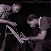 J.J. Johnson and Clifford Brown during a rehearsal for Johnson's The Eminent J. J. Johnson session of June 22 1953 (photo by Francis Wolff)