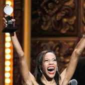 """Nikki M. James (Nabulungi) winning the Tony Award for 'Best Performance by a Featured Actress in a Musical' - \""""The Book of Mormon\"""" on Broadway"""
