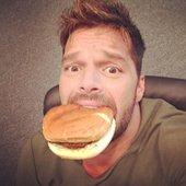 Ricky Martin Eating Selfie