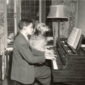 Young Gould with Dog