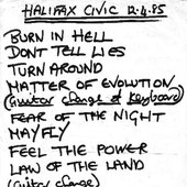 Setlist for gig at Halifax Civic Theatre 12/4/85