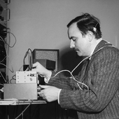 "Alvin Lucier rehearsing ""Music for Solo Performer\"" (1965) at Brandeis University, Waltham, MA, March 6, 1967"