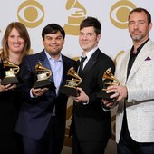 "Anne Garefino (producer), Robert Lopez (co-composer & lyricist), Stephen Oremus (co-orchestrater & vocal arranger), & Trey Parker (co-composer & lyricist) winning the 2012 Grammy Award for 'Best Musical Theater Album' - \""The Book of Mormon\"" on Broadway"