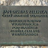 Jan Dismas Zelenka memorial plaque in Louňovice po Blaníkem, Czechia.