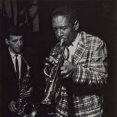 J.R. Monterose and Kenny Dorham during Dorham's 'Round About Midnight at the Cafe Bohemia live session, May 31 1956 (photo by Francis Wolff)