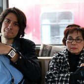 Dan Young on the bus with my grandmother.