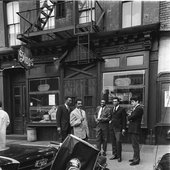 Albert Ayler and his group in front of Slugs