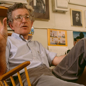 Noam Chomsky in his office at MIT in 1988