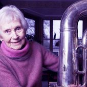 Gerard Hoffnung's widow Annette Hoffnung with his tuba.