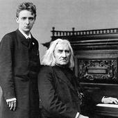 Liszt with pupil Bernhard Stavenhagen, London, April 1886.