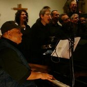 LD Frazier during the recording session at Str Luke's Church, Sevenoaks, England