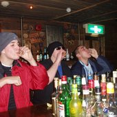 Bottoms up, bottoms up until you throw up. Beanoboo in Aomori with some buds.