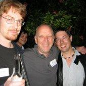 Music men Jesper Kyd, Bob Rice, Cris Velasco, Chris Rickwood hanging out.