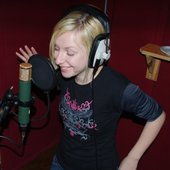 Lora in Vocal Booth in Temple Lane Studios