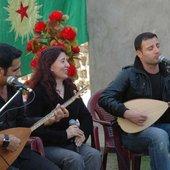 Diyar with Beser Şahîn & Delîl Dîlanar at the PCDK anniversary in Southern Kurdistan