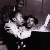 Percy Heath, Elmo Hope and Philly Joe Jones during the Elmo Hope Trio session, Hackensack NJ, June 18 1953 (photo by Francis Wolff)