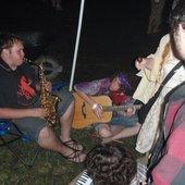 Jamming in Lumberjaxxx camp at Philly Folk Fest.