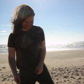 Richard D. James on the beach