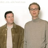 Ricky Gervais and Stephen Mer