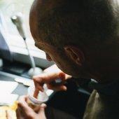 On tour in N. Europe 2002, Robert eats yoghurt tourbus style