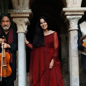 Montserrat Figueras with Jordi Savall, left, and Andrew Lawrence-King in July 2011. Photograph: David Ignaszewskji