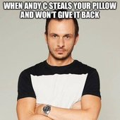When Andy C steals your pillow and won't give it back