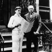 Violinist Sir Yehudi Menuhin and composer Sir Edward Elgar in 1933