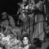 Maria Biesu, People's Artist of the USSR, a soloist of the Moldavian State Opera after a show.