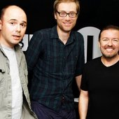 Ricky Gervais, Stephen Merchant and Karl Pilkington