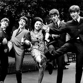The Beatles with Susan Maughan at the Melody Maker Poll awards in 1963