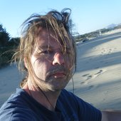 Me at a windy beach in 2010 / Fuerteventura