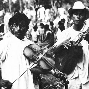Image for 'Aztec violinist, guitarist, male dancers with rattles'